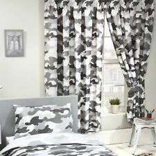 """GREY ARMY CAMOUFLAGE CAMO FULLY LINED CURTAINS WITH TIE BACKS BOYS 66"""" x 54"""""""