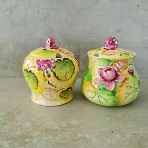 Vintage Trademark Japan Pottery Sugar Bowls Condiment Bright Floral Lilly Pink