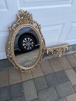 Gold Oval Resin Mold Floral Frame Mirror + Shelf Ornate Hollywood Regency Vntg