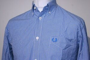 Fred Perry Classic Gingham Check Shirt - M - Brilliant Blue - Excellent Mod Top