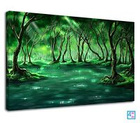 Magical Green Forest And Lovely Pond Fantasy Art Canvas Print Wall Art Picture