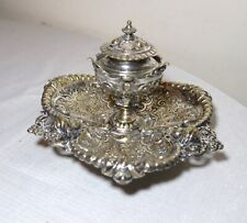 antique ornate 1800's Victorian silver-plated brass figural desk inkwell stand