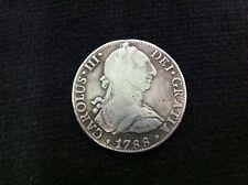 Rare 1788-MO FM Mexico City 8R 8 Reales Carolus III Colonial Silver Coin