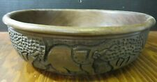 Vintage Large Hand Carved Elephant, Rhinoceros & Giraffe Wooden Bowl