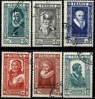 FRANCE 1943   Série YT n° 587 à 592 Oblitérés
