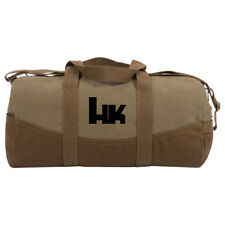 "HK Heckler and Koch Two Tone 19"" Duffle Bag with Brown Bottom, Detachable Strap"