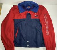 Rare Vintage 90s Tommy Hilfiger Windbreaker Hooded Jacket   Maroon / Navy Sz XL