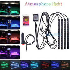 12 LED Car Atmosphere RGB Phone App Music Control Strip Inside Lights Interior