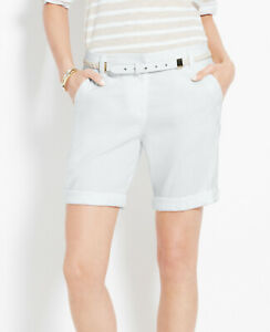 Ann Taylor - SIze 14 White Linen Blend Rolled Shorts $59.00 NWT(S3)