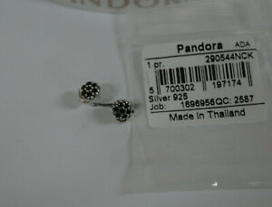 Pandora Pave Silver Stud Earrings with Black Crystals - 290544NCK