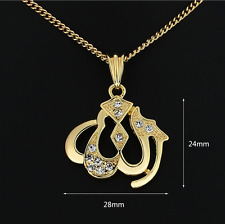 Arab Islamic Allah 18K Gold plated Muslim Charm Pendant Necklace Chain