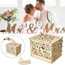 Mr & Mrs Wedding Card Post Box Wooden Openwork Floral Heart Wishing Well w/ Lock