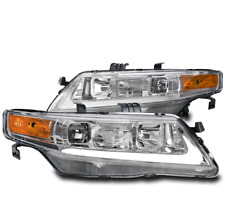 FOR 04-08 ACURA TSX CL9 LED BAR PROJECTOR HEADLIGHTS HEADLAMPS LAMPS CHROME PAIR