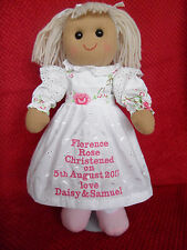 x PERSONALISED ROSE RAG DOLL CHRISTENING 1ST HOLY COMMUNION DEDICATION GIFT 16""