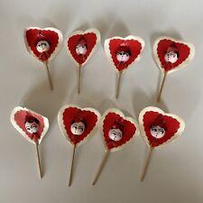 8 Vintage Spun Cotton Valentine Pick Heads Made In Japan