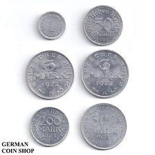 Set 1, 50 Pfennig 3, 3, 200, 500 Mark 1917 - 1923 Aluminium - Deutsches Reich