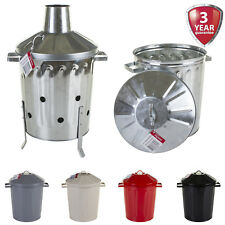 15L LITRE GALVANISED METAL INCINERATOR RUBBISH BIN OUTDOOR GARDEN HOME RETRO NEW
