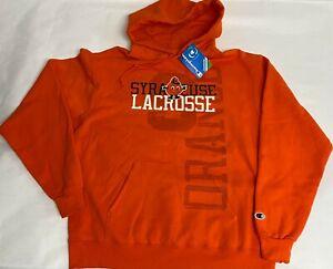 NEW Champion Orange Mens Large Syracuse Lacrosse Hoodie Sweatshirt