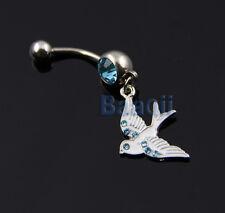 White SPARROW SONG BIRD DOVE Inspired Blue Gem Belly Navel Ring Dangle CUT YG