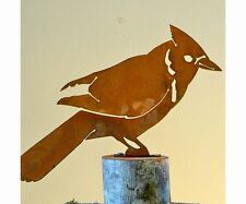 Elegant Garden Blue Jay Bird Silhouette Rusty Metal Rustic Art Decor Made in USA