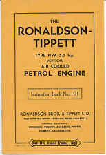 Ronaldson Tippett  type NVA 5.5hp Vertical Air Cooled instructions (Original)