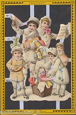 SNOW CHILDREN MUSIC CHRISTMAS WHITE UK SCRAP EMBOSSED DECOPAGUE PAPER VICTORIAN