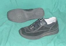 Ecco Size 38 US Womens 7 7.5 Black Suede Leather Casual Sneakers Athletic Shoes