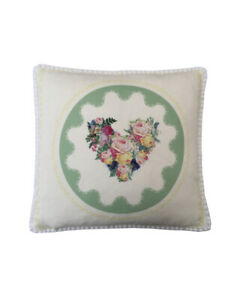 """16"""" Vintage style Green Floral Hearts White pompom trim scatter cushion covers"""