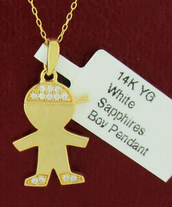BOY SILHOUETTE WHITE SAPPHIRES PENDANT 14K YELLOW GOLD *** New With Tag ***