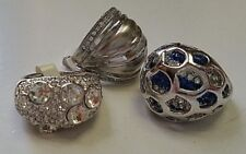 LOT 3 Silver FASHION RINGS Sparkling Crystal Stones  Lady Girl SIZE 9 Cute Gifts