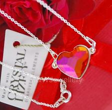 STERLING SILVER CHAIN NECKLACE WITH SWAROVSKI Elements HEART ASTRAL PINK 14mm