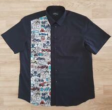 Mens Rockabilly Style Bowling Shirt Vintage Cars 66 - Rock n Roll Short Sleeve