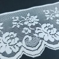 4 inch White Floral Lace  Scalloped Edge Trim 3 Yards / 12 Foot Length Bulk Lot