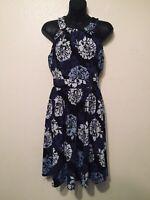 Banana Republic Floral Halter Dress Black Blue Womens Size 2