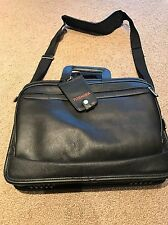 Toshiba 14 Inch Leather Laptop Bag With Shoulder Strap Black. New