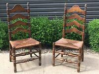 Antique Rush Ladder Back Wood Accent Dining Wooden Chairs