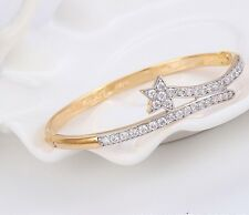 """9ct 9k Yellow & White """"Gold Filled"""" C/Z Stone Openable Bangle Bracelet 60mm Gift"""