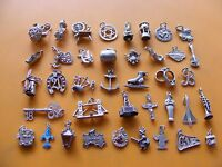 M VINTAGE STERLING SILVER CHARMS LAMP PIXIE THISTLE GUITAR ANCHOR MUMMY JUG RING