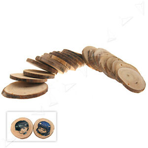 24 Round Natural Wood Discs Slices With Hole for Craft Hobbies Pyrography DIY