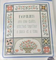"""FAMILIES ARE LIKE QUILTS Cross Stitch Kit Janlynn 14"""" x 16"""" country family gift"""