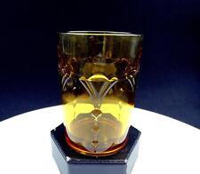 "PADEN CITY #890 ELEGANT GLASS CROWS FOOT AMBER FAN AND DOT 4"" TUMBLER"