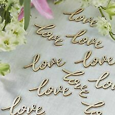Wooden Love Words Confetti . Wedding, Party. Vintage Rustic Table Scatter.