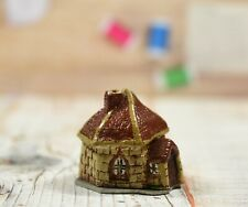 Painted Pewter Novelty Thimble & Holder in the Form of Thatched Medieval Church
