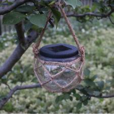 Garden Solar Powered LED Hanging Glass Jar Rope Lights Lantern Table Lamp
