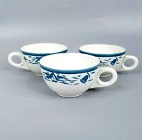 Homer Laughlin USA Cup Set Vtg Restaurant Ware Blue White Nautical Sailboat Mugs