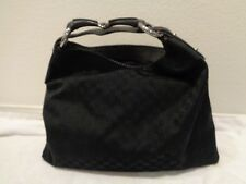 Gucci Monogram GG Black Horsebit handle Canvas Material Hobo Bag large