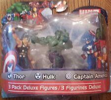 Marvel Avengers Thor Hulk Captain America 3 Pack Deluxe 4 Figure Pack comics new