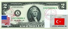 $2 DOLLARS 2013 STAMP CANCEL FLAG OF TURKEY LUCKY MONEY $72.50