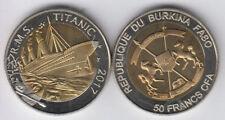 BURKINA FASO 50 Francs 2017 bimetal, Titanic, unusual coinage