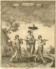 CONGO. 'Another way of Carriage'. Litter. Sedan chair. After DE BRY 1746 print